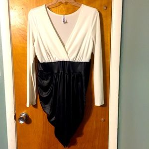 Eien faux wrap/faux leather mini dress